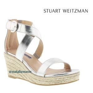 Stuart Weitzman Silver Wedge Sandal (Kids' Shoes)